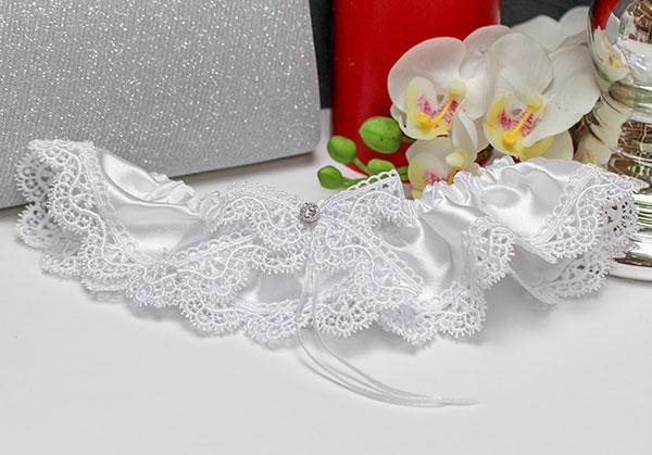 """Подвязка для невесты """"Белые цветы"""" (белый)"""