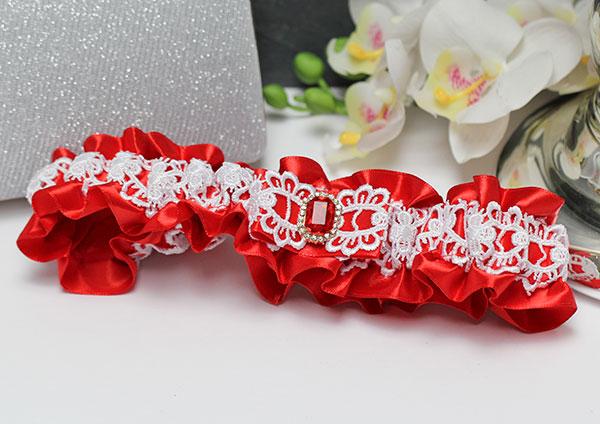 """Подвязка для невесты """"Рубин"""" (красный)"""