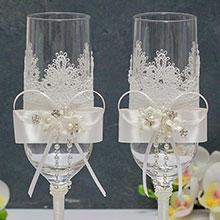 """Красивые свадебные бокалы ручной работы """"Мильфлёр"""""""
