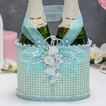 Декор для шампанского Мятный твид