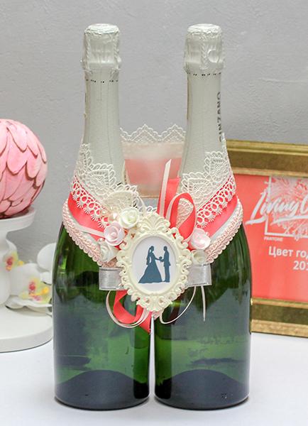 Украшение для шампанского Летний вечер (коралловый)