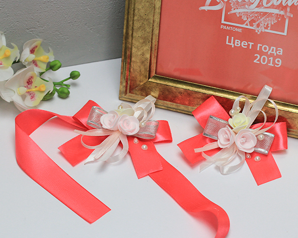 Набор свадебных аксессуаров для свидетелей Летний вечер (2 шт) (коралловый)