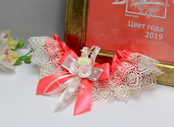 Подвязка свадебная Летний вечер (коралловый)