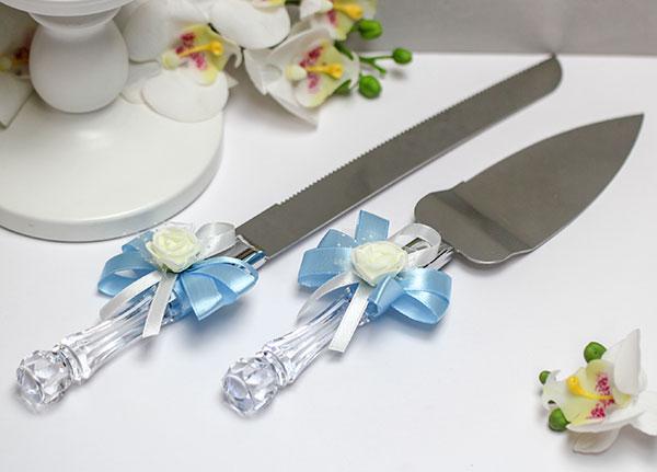 Набор сервировочный для торта Розанна (голубой)
