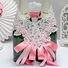 """Свадебное украшение для шампанского """"Кружевной шарм"""""""