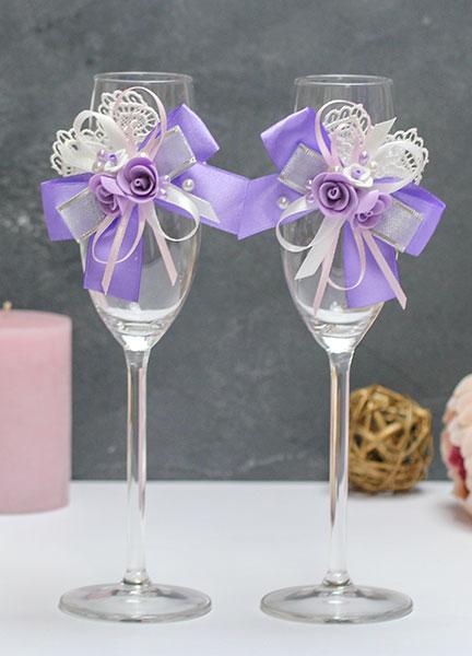Свадебное украшение на бокалы Летний вечер (2 шт) (сиреневый)