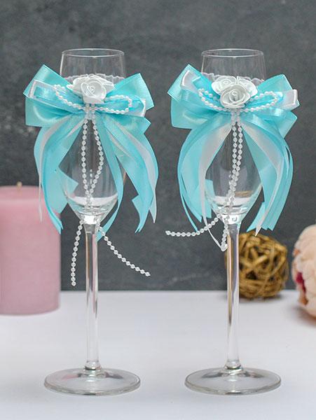 Свадебное украшение для бокалов Fantastic (лазурный)