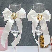 Свадебное украшение на бокалы Винтажный шик