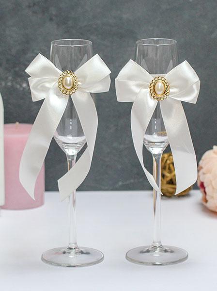 """Свадебное украшение на бокалы """"Винтажный шик"""""""