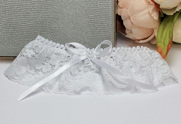 Подвязка для невесты Валентинка (белый)