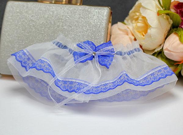 """Подвязка для невесты """"Невесомость"""" (синий)"""