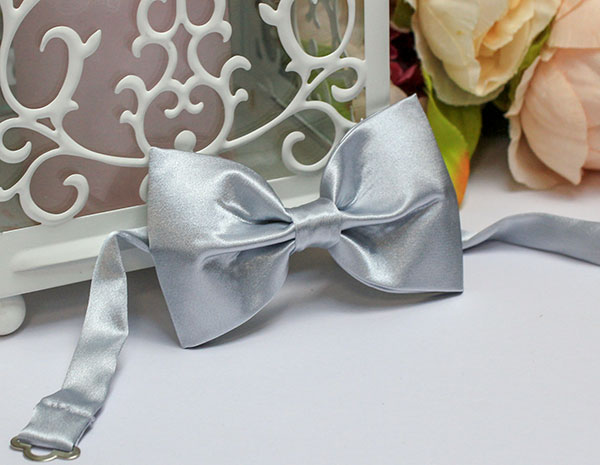 Галстук-бабочка атласный (серебро)