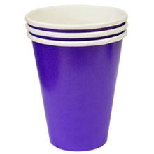 Набор однотонных бумажных стаканчиков (8 шт, фиолетовые)