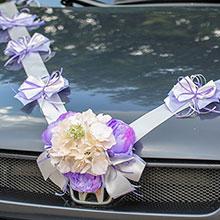 Лента для свадебной машины Поцелуй бабочки, пионы+гортензия (сиреневый/айвори)