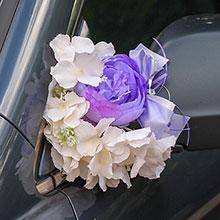 Украшение для ручек/зеркал машины Поцелуй бабочки, пионы+гортензия (сиреневый/айвори)