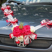 Лента для свадебной машины Поцелуй бабочки (бордо/айвори)