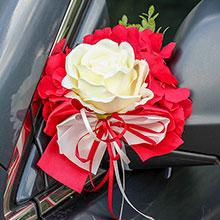 Украшение для ручек/зеркал машины Поцелуй бабочки (бордо/айвори)
