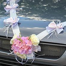 Лента для свадебной машины Поцелуй бабочки, розы+гортензия (нежно-сиреневая)