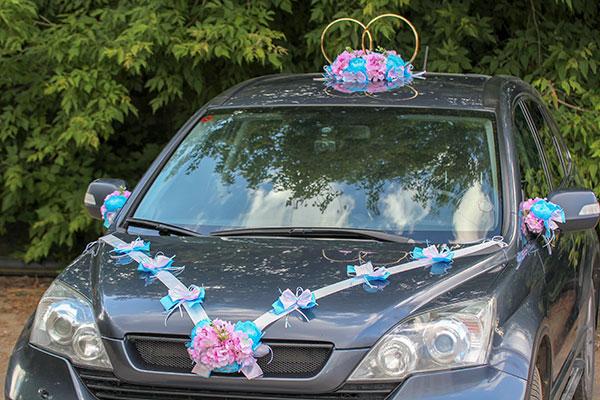 """Лента для свадебной машины """"Поцелуй бабочки"""", пионы+гортензия"""