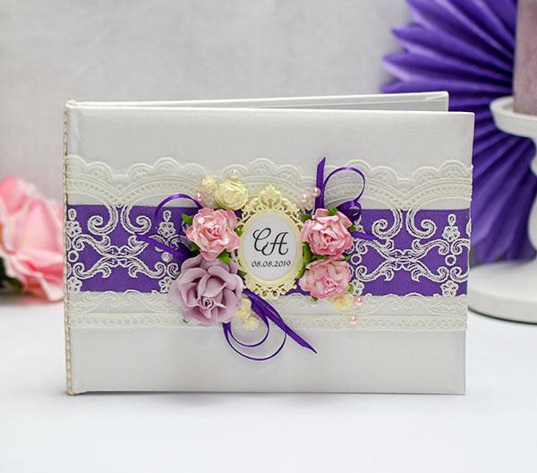 """Свадебная книга пожеланий """"Таинственный сад"""" (24 листа) (фиолетовый)"""