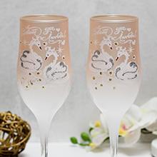 """Свадебные бокалы """"Совет да любовь, лебеди"""", персик"""