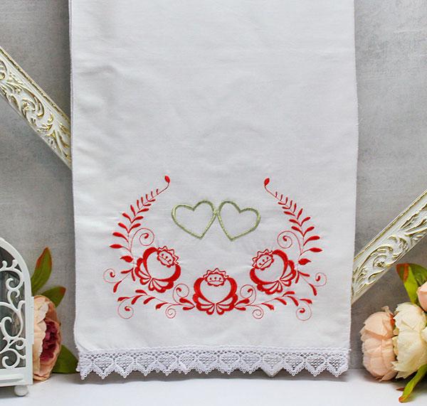 """Свадебный рушник из хлопка с вышивкой  """"Цветочный"""" (красный) (хлопок)"""