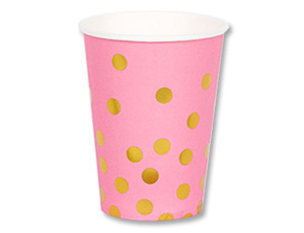 """Набор бумажных стаканчиков """"Золотой горошек"""", розовый, 210мл 6шт"""