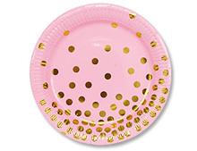 """Набор бумажных тарелок """"Золотой горошек"""", розовый, 17см 6шт"""