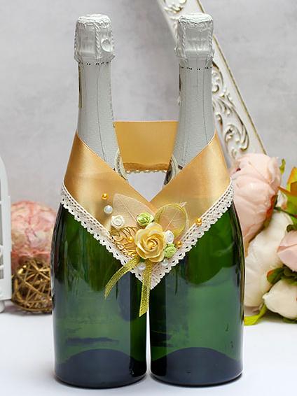 """Украшение свадебных бутылок """"Уютная осень"""" (золотой)"""