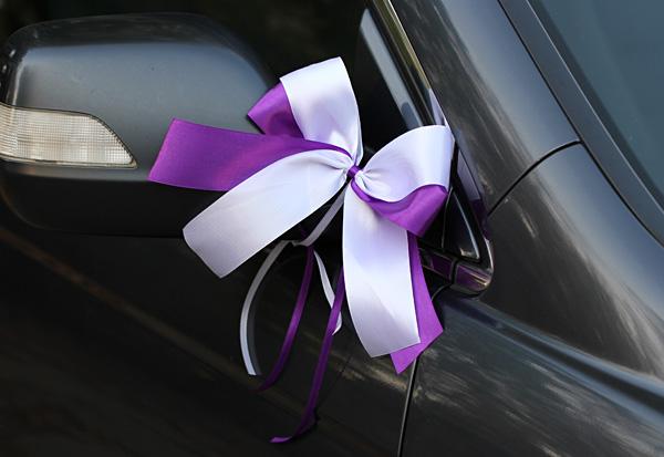 Комплект бутоньерок на авто Фантазия (фиолетовый/белый)
