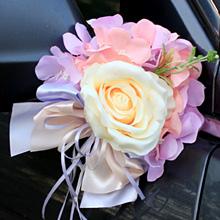 Украшение для ручек/зеркал машины Поцелуй бабочки, розы+гортензия (нежно-сиреневый)