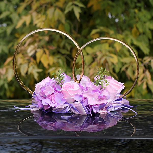Кольца на свадебную машину Поцелуй бабочки, розы+гортензия (сиреневый/розовый)