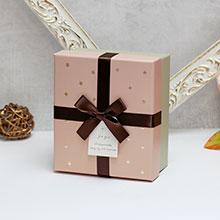 """Коробка для подарков """"Золотые звезды"""" (маленькая, бежевая)"""
