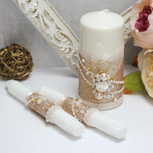 """Домашний очаг + 2 свечи """"Античное золото"""" (без подсвечников) (золотой)"""