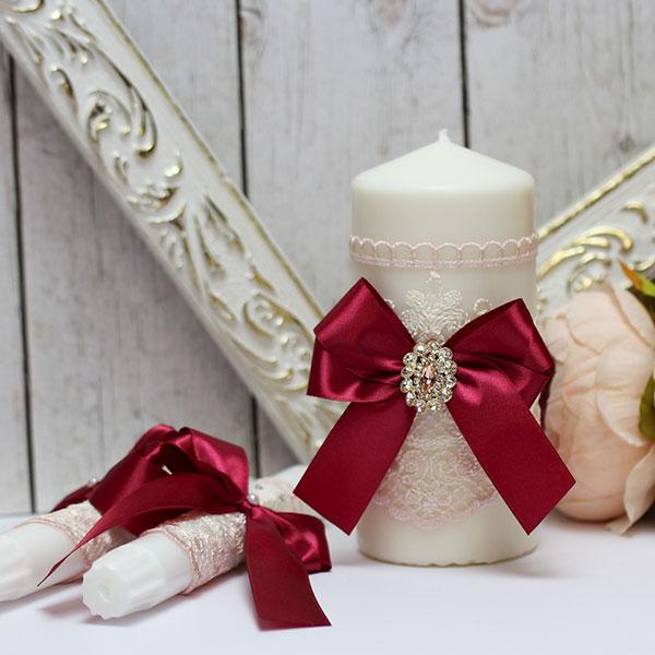 Домашний очаг + 2 свечи Винтажный шик (без подсвечников) (винный)
