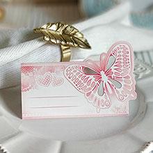 """Банкетная карточка """"Бабочка и сердечки"""""""