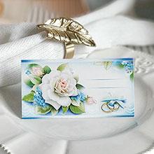 """Рассадочная карточка на свадьбу """"Синие цветы"""""""