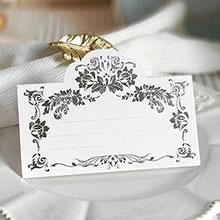 """Рассадочная  карточка """"Вензеля"""" (#087735, серебро)"""
