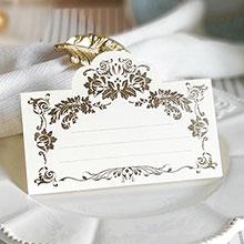 """Рассадочная  карточка """"Вензеля"""" (#087735, золото)"""