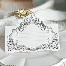 """Рассадочная  карточка """"Вензеля"""" (#08774, серебро)"""