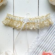 Свадебная подвязка на ногу Мадмуазель (лимонный)