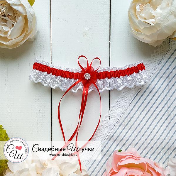 Подвязка для невесты Виола (красный)