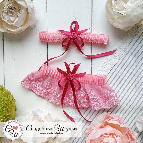 """Свадебный набор подвязок для невесты """"Анжелика"""" (2 шт) (розовый)"""