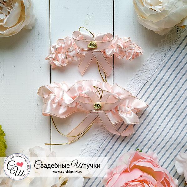 Свадебные подвязки для невесты Женевьева ( 2 шт.) (персиковый)