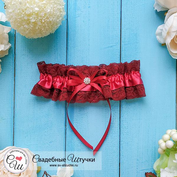 Подвязка для невесты Афродита (бордовый)