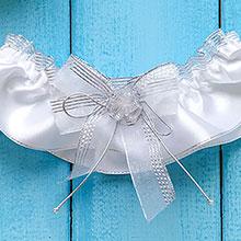 Подвязка для невесты Сияние (белая/серебро)