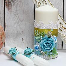 """Набор свадебных свечей """"Букет"""" (3 свечи без подсвечников)"""