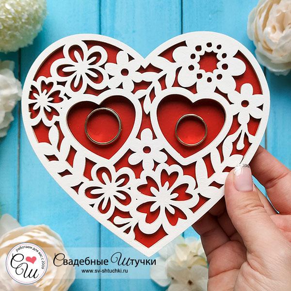 Деревянная подставка Цветочное сердце (белый/красный)