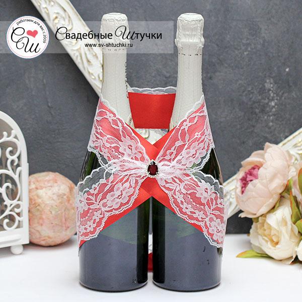 Свадебное украшение для шампанского Афродита (красный)