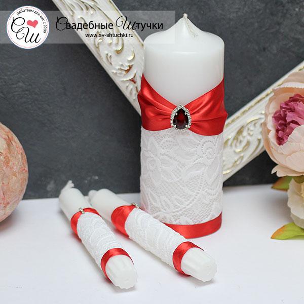 Свадебный набор свечей Афродита (без подсвечников) (красный)